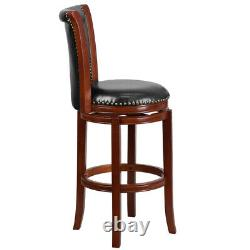 30'' High Dark Chestnut Wood Barstool with Panel Back and Black Leather Soft