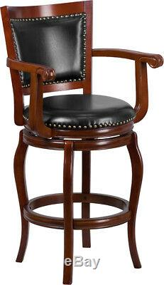 30H Cherry Wood Panel Back Swivel Barstool with Arms