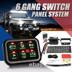 6 Gang Switch Panel Circuit Control Green LED Back light For Ford F-150 F-250