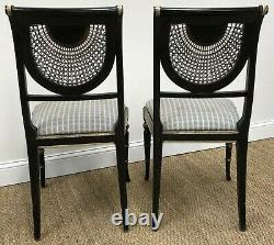 A Vintage Pair of Julia Gray Sheraton Style Side Chairs withWoven Cane Back Panels