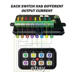 AUXBEAM 8 Gang Switch Panel On-Off LED Light Circuit Control (Blue Back light)