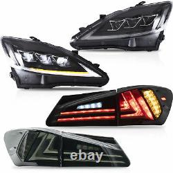 For 06-13 IS250/350 Sedan 08-14 IS F CLEAR LED Headlights+SMOKE LED Taillights