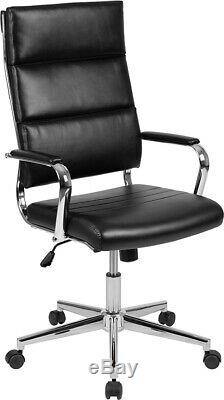 High Back LeatherSoft Contemporary Panel Executive Swivel Office Chair