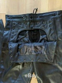 Kookie Leather Sailor Pants Size L with Button Panel and Lace Up Back 32/32 $279