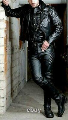 Men's Real Cow Leather Bikers Jacket Quilted Panels Back & Sleeves Bikers Jacket