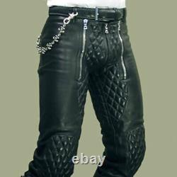 Men's Real Cow Leather Quilted Panels Carpenter Pants Slim Fit Pants & Back Zip
