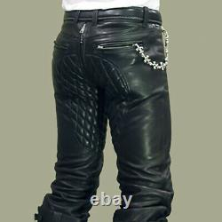 Men's Real Leather Quilted Panels Carpenter Pants Slim Fit Pants With W. O Back Zip
