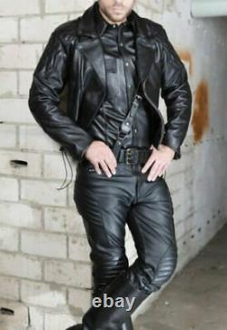 Mens Real Cowhide Bikers Jacket Back Quilted Panels Bikers Quilted Jacket SCHRAW