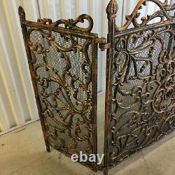 Ornate French Fireplace Screen 3 Panel Scrollwork Black Gold/Copper & Mesh Back
