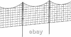 Outdoor Metal Garden Fence Black Pet Guard Lawn Back Yard Fencing Stake 5 Panels